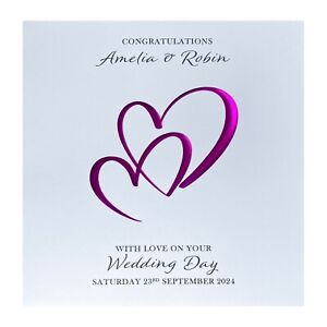 Handmade PERSONALISED Wedding Day Card - Love Hearts / Foil Emboss - Colours