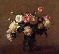 Dream-art Oil painting Latour - Bouquet of Roses flowers hand painted art canvas