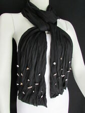 New Women Scarf Soft Fabric Fashion Black Long Necklace Silver Metal Stars Studs
