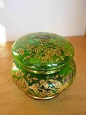 ENAMELED DRESSER BOX Green Butterflies Glass Moser? Czech Bohemian Powder Jar