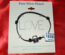 Love Black Friendship Bracelet Pure Silver Plated Square Lock