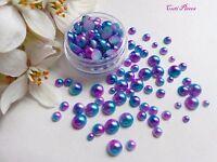 Mermaid Pearls Mixed Pot Round Purple Blue Fade Effect Flat Back Nail Art Gem M2