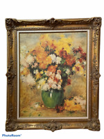 Vintage Ornate Gold Gilt Wood Framed Oil on Canva Painting Bouquet of flowers