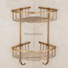 Bathroom 2 Tier Shampoo Shower Caddy Storage Basket Holder Wall Mount Towel Hook