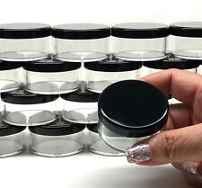 5 Cosmetic Jars Empty Plastic Beauty Containers 30 Gram 30 ml Black Lids #3063