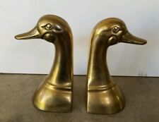 """6"""" Tall Brass Duck Bookends 1970's Vintage Original Patina Mid Century Gold 12"""