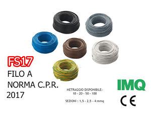 FILO UNIPOLARE CAVO CORDINA FS17 1,5 2,5 4 6 FILO ELETTRICO BOX 10-20-50-100MT