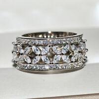 Women 925 Silver Cubic Zirconia Full Gemstone Flower Ring Wedding Engagement Lot