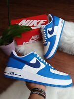 SIZE 12.5 MEN'S NIKE ID AIR FORCE White/ Blue AQ3774 992 SPORT SNEAKERS AF1 LOW