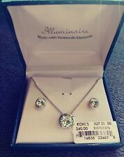 Illuminaire Swarovski Elements Pierced Earrings and Necklace With Gift Box