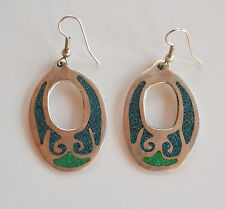 vintage Signed Mexico Alpaca crushed turquoise inlay dangle pierced earrings