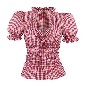 Trachtenbluse Trachten Bluse Dirndlbluse Damen Mieder Rot Weiß Kariert Baumwolle