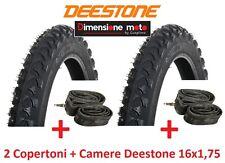"""2 copertoni Deestone 16x1 75 D-202 Nero tassellato 2 camere per bici 16"""" BMX"""