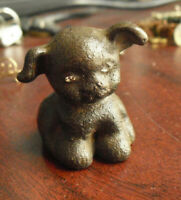 """Rare Antique Cast Iron Hubley Hines Pup Mini Paperweight Figurine 1 1/2"""" Tall #2"""