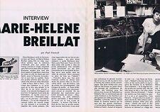 COUPURE DE PRESSE CLIPPING 1976 MARIE-HELENE BREILLAT (3 pages)