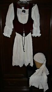 RENAISSANCE WENCH Off Shoulder PEASANT Dress HALLOWEEN COSTUME Women Lg Charades