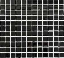 Mosaico piastrella vetro uni nero muro cucina bagno: 60-0304_b | 1 foglio