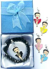 Black Crystal Charm Carrier Bracelet with 5 Betty Boop Clip-on Charms