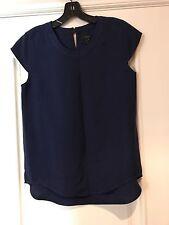 J.CREW Drapey Oxford Crepe Cap Sleeve Top Vivid Ink Blue 2