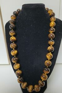 50cm Brown Tigers Eye Stone Agate Chalcedony 14mm Bead Necklace 129 Grams Gold C