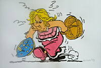 Unikat Mooseart Comic Zeichnung Asterix Obelix Gouache  Papier 21x30cm Original