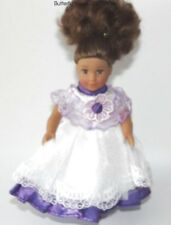 Fancy Purple Lace Dress  Silk Bloomers 6 in Doll Clothes Fits Mini American Girl