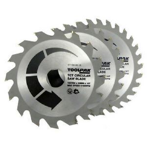 Circular Saw Blades TCT 165mm x 30mm 16T 24T & 30Teeth  3 x Blades by TOOLPAK