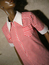 CHIC VINTAGE ROBE CHEVRONS 1970 VTG DRESS STRIPE 70s KLEID 70er ABITO (36/38)