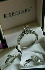 10k White Gold 1/5ct (.20cttw) pave cluster diamond engagement scroll ring $498