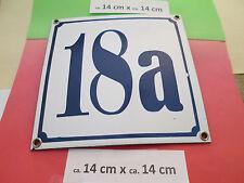Hausnummer Nr. 18a blaue Zahl auf weißem Hintergrund 14 cm x 14 cm Emaille