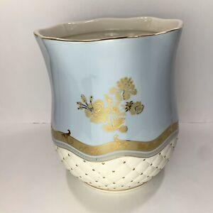 Ceramic Bathroom Waste Basket / Planter Tufted Ceramic Gold Hibiscus Blue Glaze