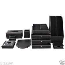 Wholesale 9pcs/set Black Leather Cover Wooden Office Desk Decor Accessory Boxes