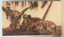 Paul Jouve huile grand panneau quatre Tigres au repos circa 1950