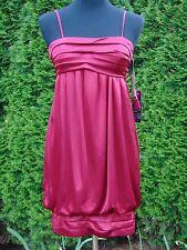 Morgan & Co Wine Satin Empire Waist Bubble Mini Dress New With Tags Size XS