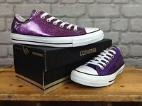 CONVERSE LADIES UK 3 EU 35 RICH PURPLE GLITTER SHIMMER SPARKLE LO OX TRAINERS