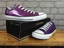 CONVERSE LADIES UK 4 EU 36.5 RICH PURPLE ALL STAR GLITTER TRAINERS SHIMMER