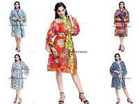 Women Cotton Kimono Indian Casual Bath Robe Hippie Printed Dressing Gown Robe