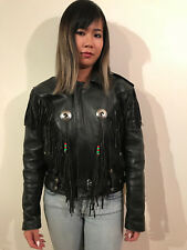 VINTAGE BLACK LEATHER LEATHER MOTORCYCLE JACKET WOMEN'S SMALL FAT BOY HARLEY!