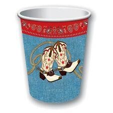 9oz Pack Of 8 Wild West Cups - Way Out Party Cowboy Western Paper Rodeo Barn