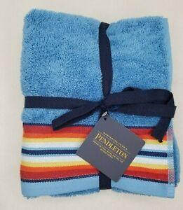 Pendleton Towel Set of 2 Hand Towels Saltillo Stripe Blue 100% Cotton NWT