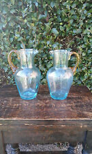 Late Victorian/Edwardian Beautiful Pair of Venetian Small Glass Jugs