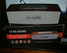 SPEAKER WIRELESS WS-636 PORTATILE MUSIC MEDIA PLEYER TF CARD FM-RADIO ROSSO