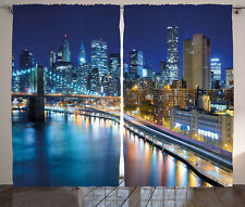 Landscape Curtains View of New York City Window Drapes 2 Panel Set 108x84 Inches