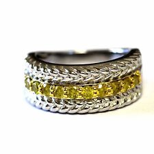 New 925 sterling silver .50ct yellow diamond woven weave wedding ring band 5.7g