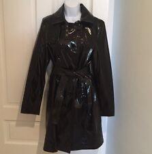 Express Patent Leather Black Rain Jacket Trench Size Medium