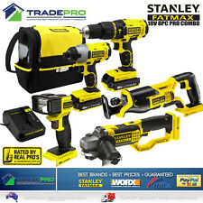 Stanley® Combo Kit 8pc 18V Fatmax Drill Impact Driver Grinder Saw Charger &Batts
