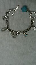 Stunning modernist artisan Danon Israel silver tone charms bracelet