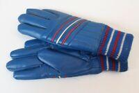 Vintage Handschuhe Fingerhandschuhe ungetragen blau Polychlorid Gr 6,5
