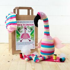 SOCK FLAMINGO CRAFT KIT - Fun sewing craft kit for kids and adults, a great gift