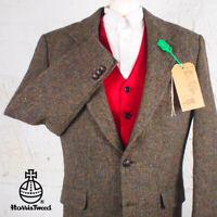 42R HARRIS TWEED Blazer Jacket Suit - Brown Herringbone Hacking Wedding #608